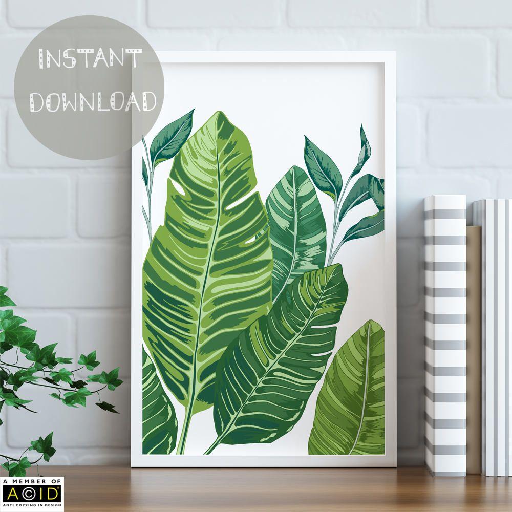 Banana Leaf Wall Art Leaves Printable Print Greenery Trend