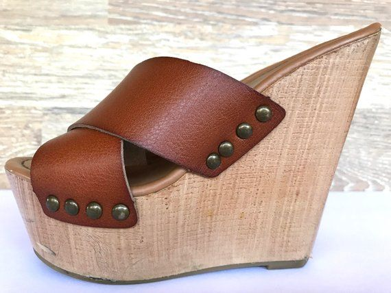8d4a51d3757ee 80's wood wedge leather strapped mules, vintage boho hippie sandals ...