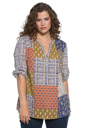 Patchwork print blouse has an A-line fit with round notch V-neck. Banded button 3/4 sleeves, back gathered yoke and side vents. <br />