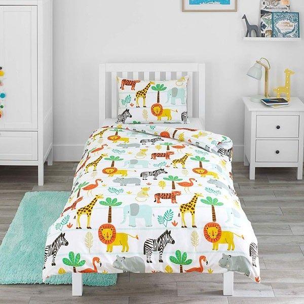 Children S Single Duvet Cover Set White Safari Cot Bed Duvet Set Cot Bed Duvet Bed Duvet Covers