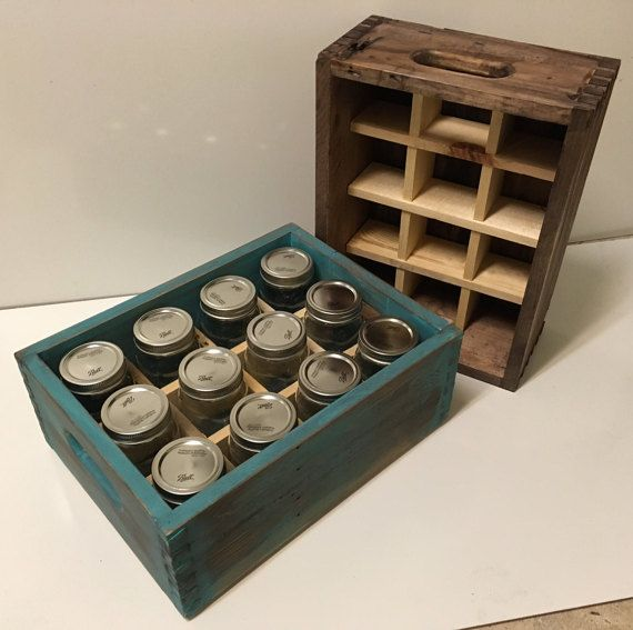 Awesome Gift For Canners Who Need Mason Jar Storage These Canning Crates Are Handmade From Rustic And Mason Jar Storage Canning Jar Storage Milk Crate Storage