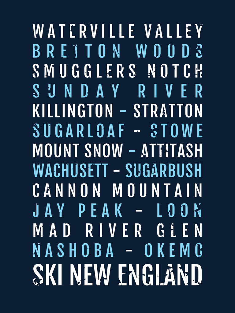 New England Ski Destinations Subway Poster Featuring Killington Waterville Valley Sunday River Okemo And More Perfect Gift For Skiin Ski Posters Ski Decor New England