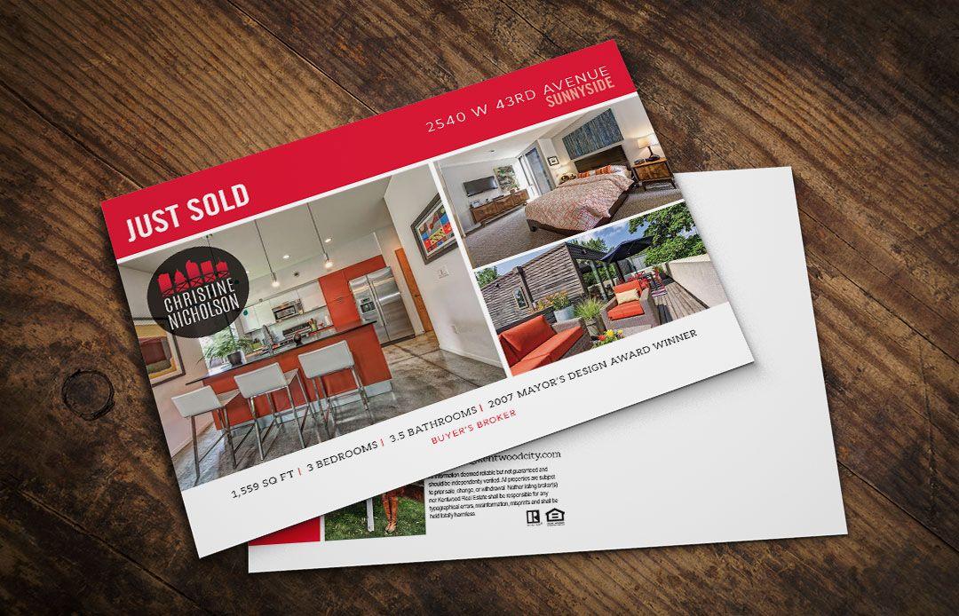 real estate just sold postcard on behance graphic design