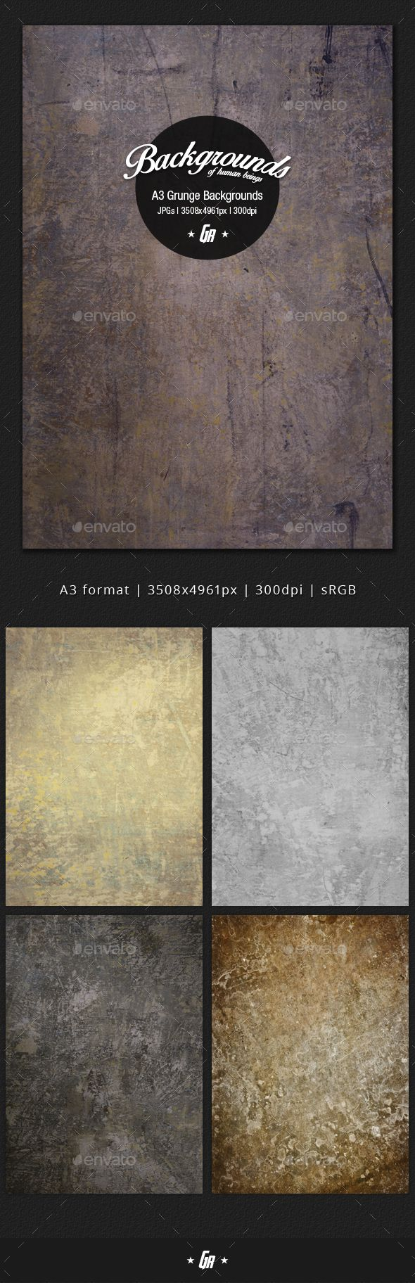 A3 size grunge wall textured backgroundsSet of 5 high