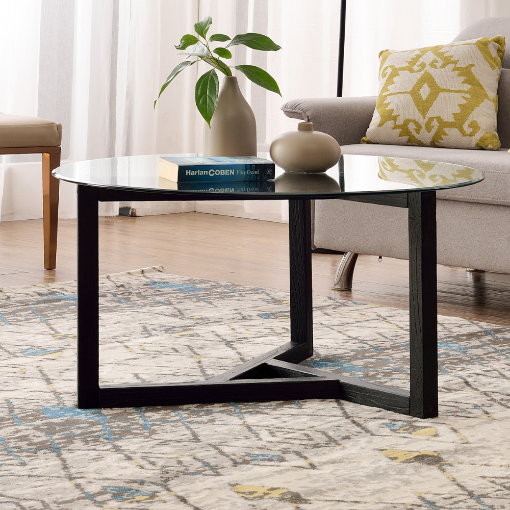 Glass Coffee Table 35 4 Round Coffee Table With Sturdy Wood Base Modern Cocktail Table With Tempered Glass Top Round Center Table Sofa Table For Living Room In 2020 Coffee Table Contemporary [ 1000 x 1000 Pixel ]