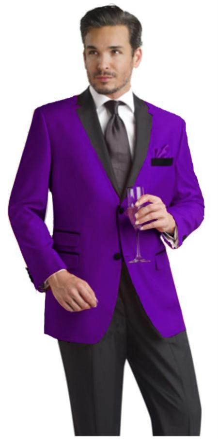 Two #button #notch w/ #black lapel #Purple #party #suit & #tuxedo ...