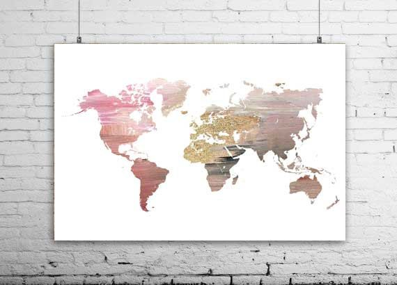 Large World Map Wall Art X Pink World Map Pink By Ikonolexi - Pink world map poster