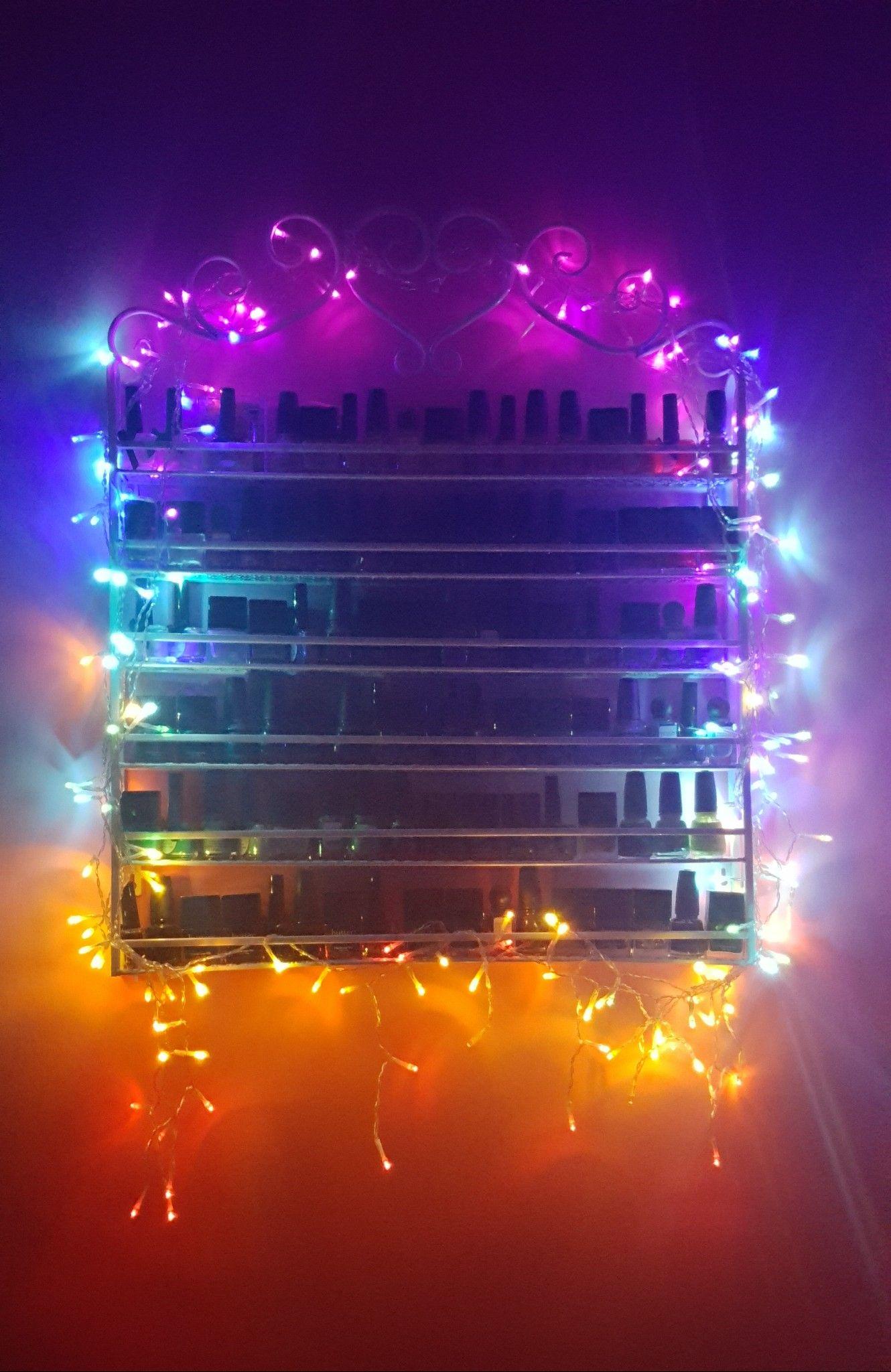 Rainbow Fairy Lights On Nail Polish Rack