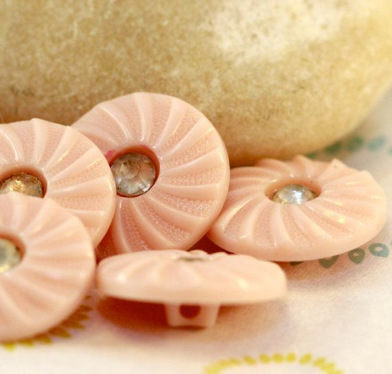 Vintage Fifties Pale Pink Swirl Rhinestone Center Shank Buttons (6) 20 mm cottage chic, retro, kitschy