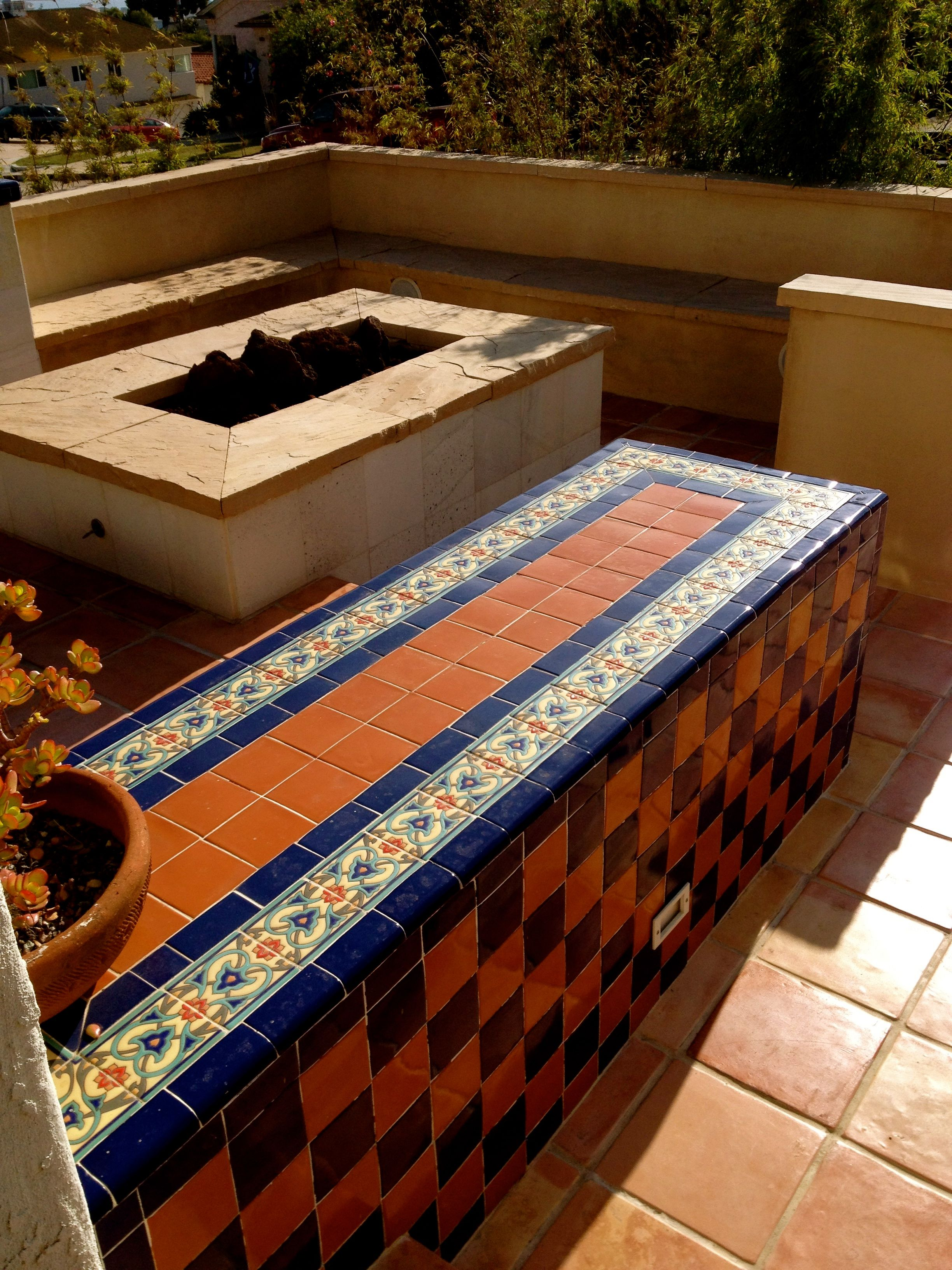 Decorative Patio Tiles Cool Patio Project With Bench In Hand Painted And Handcrafted Decorating Design