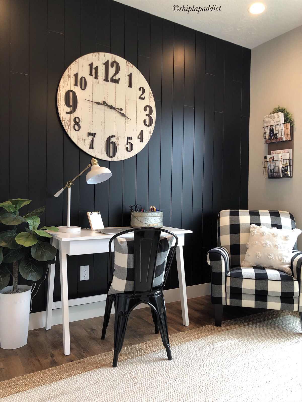 Black Vertical Shiplap Home Decor Farmhouse Decor Living Room Black Accent Walls
