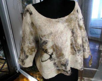Womam blouse,Felt tunic, Handmade,Felt clothing ,Woman fashion ,Felt art