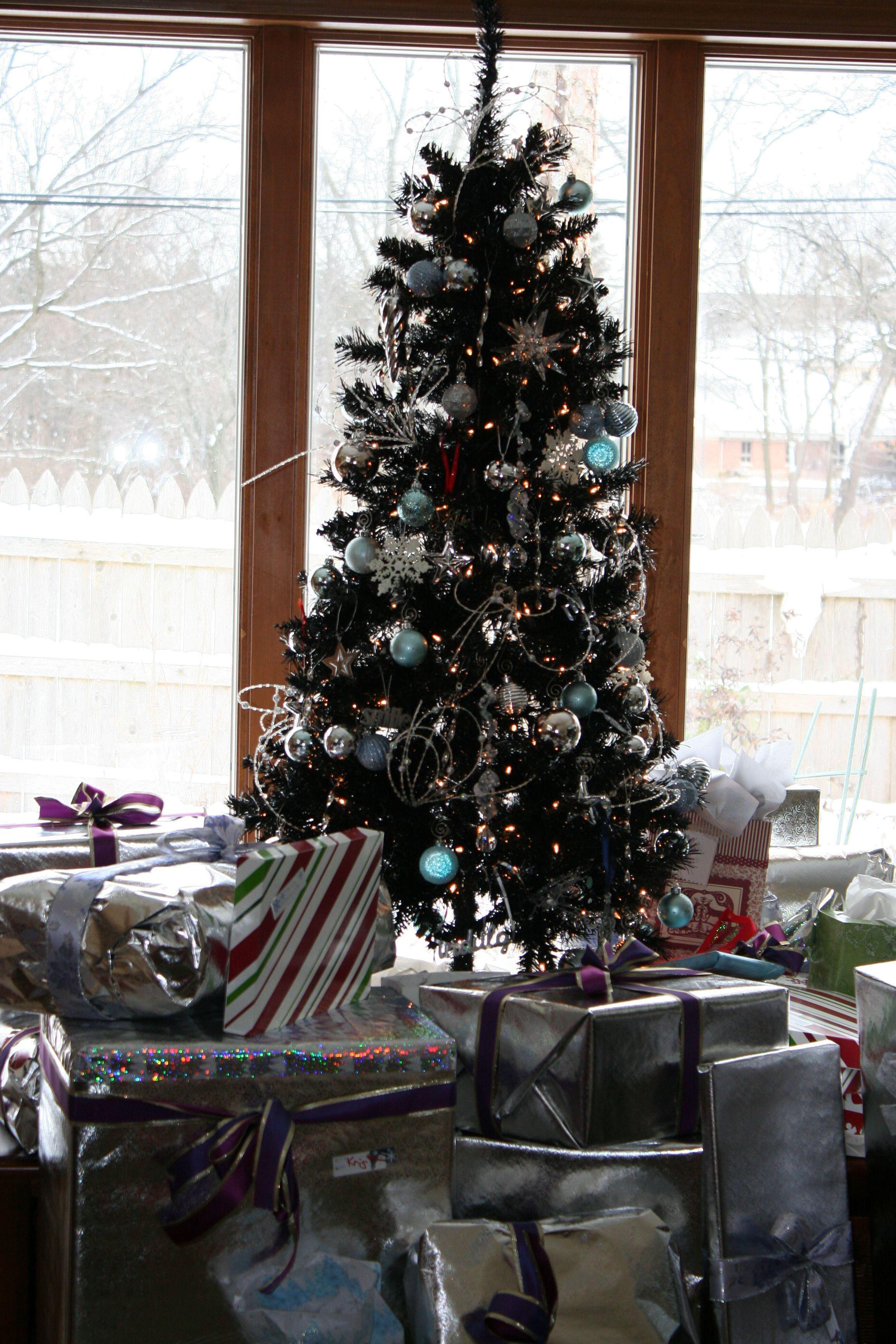 Ice Blue/Silver on a Black Christmas Tree. www.zulily.com ...