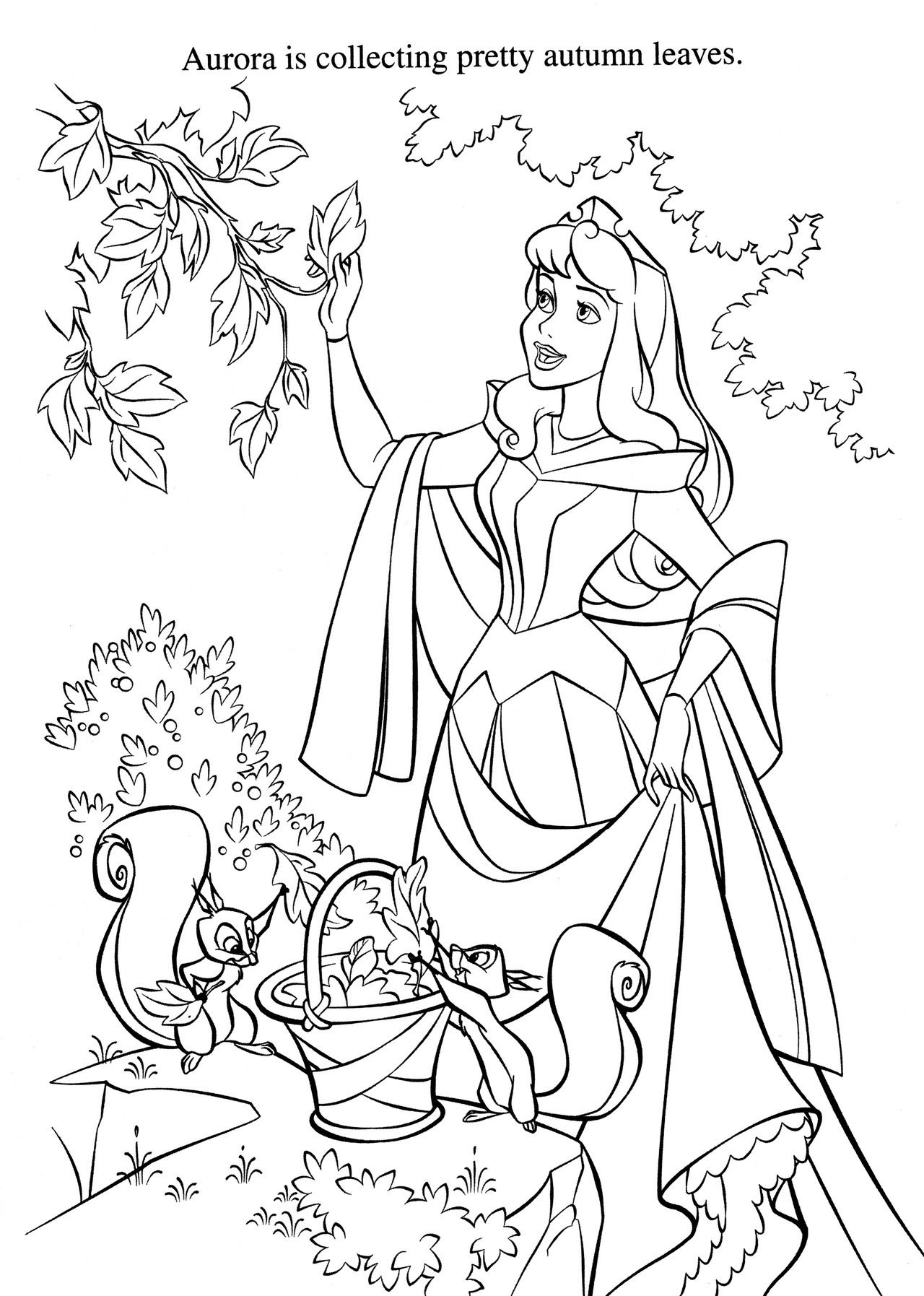 Aurora Collecting Autumn Leaves Disney Coloring Pages Sleeping Beauty Coloring Pages Disney Princess Coloring Pages