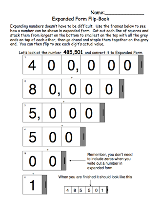 Heres A Flip Book Activity For Expressing Numbers In Expanded Form