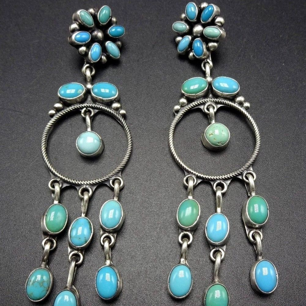 Long signed navajo sterling silver turquoise cluster dangle long signed navajo sterling silver turquoise cluster dangle chandelier earrings arubaitofo Choice Image