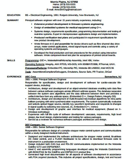 IT Software Engineer resume template , IT Infrastructure Manager - software manager resume
