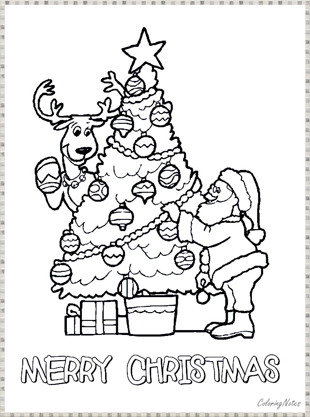 Christmas Tree Coloring Pages With Santa Free Printable For Kids Christmas Tree Coloring Page Tree Coloring Page Christmas Coloring Sheets