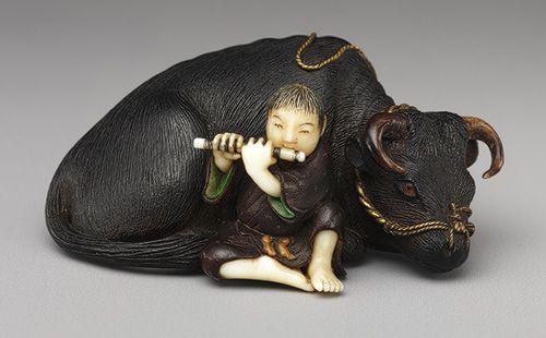 Photo of Netsuke of Ox with Bokudo | Work of Art | Heilbrunn Timeline of Art History | The Metropolitan Museum of Art