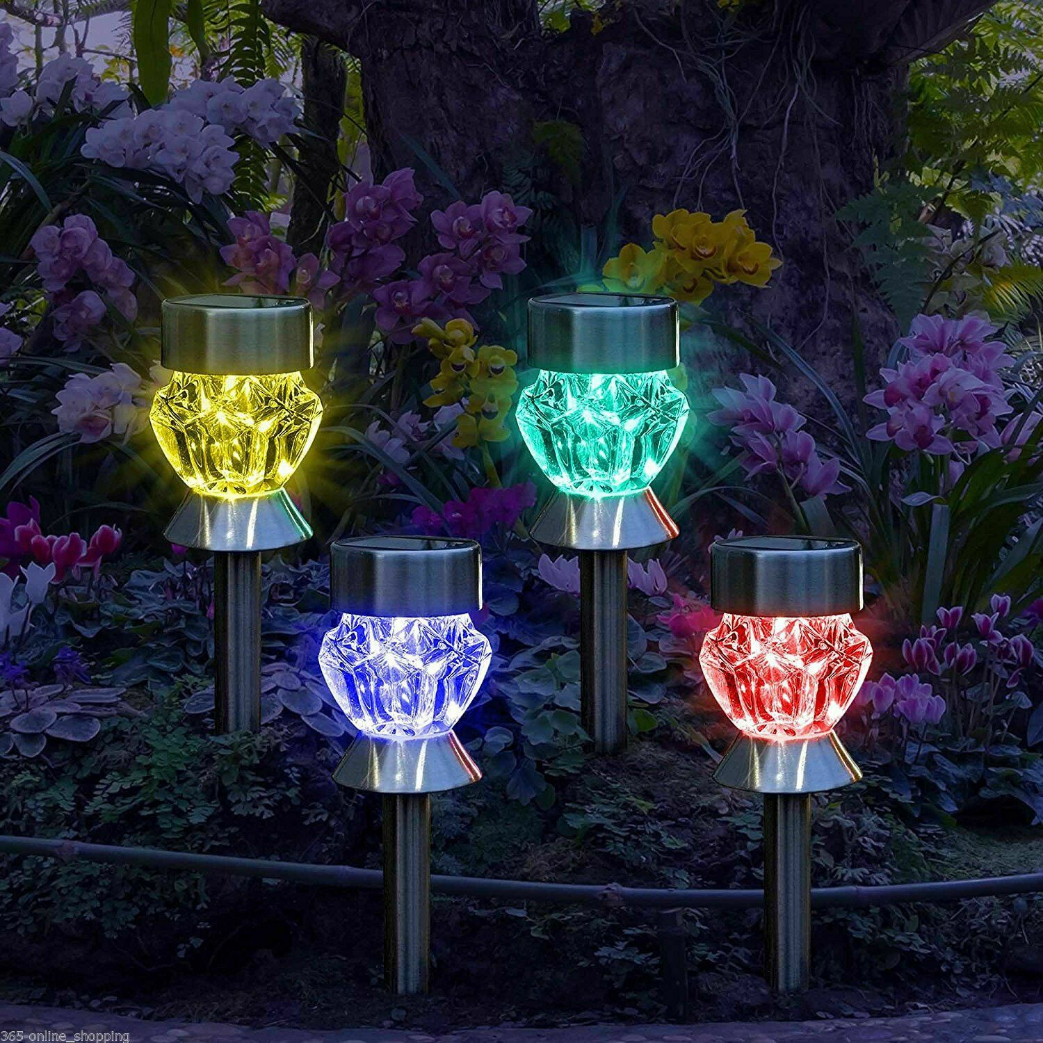 Details about Solar Powered Colour Changing Garden Lights