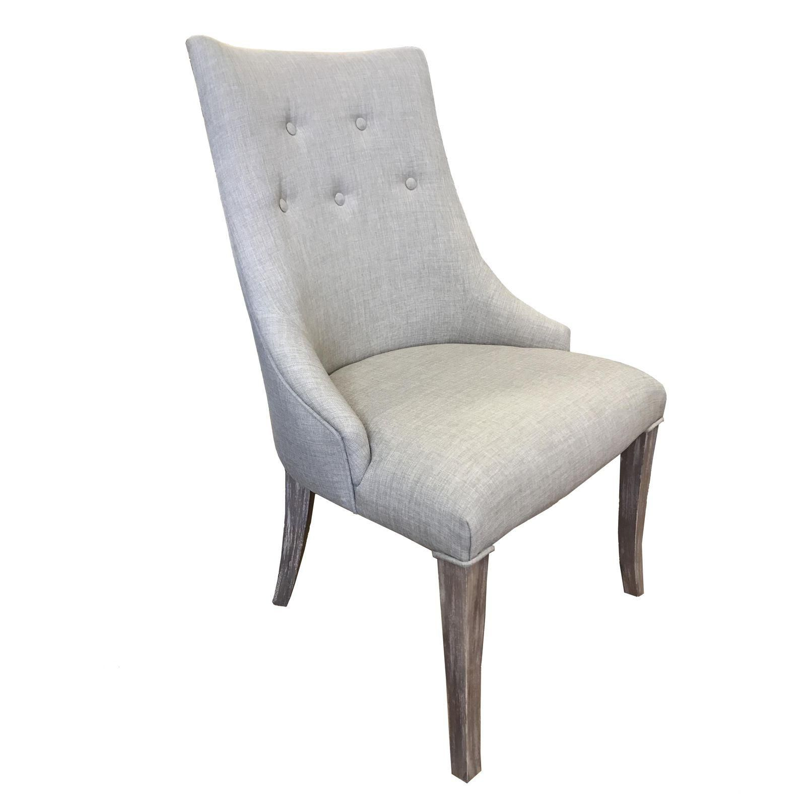 5ab7f278fbf Tufted Rustic Beige Linen White Wash Dining Chair - Image 2 of 4