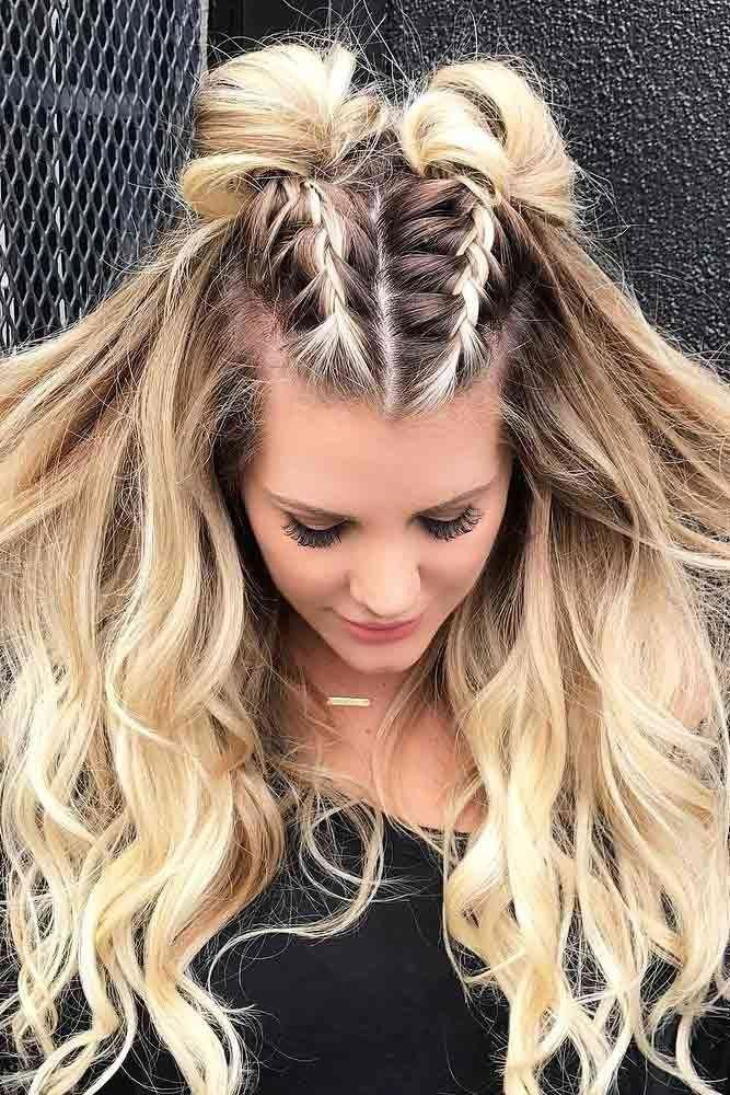 Photo of double dutch braids into space buns #easybraidedhairstyles