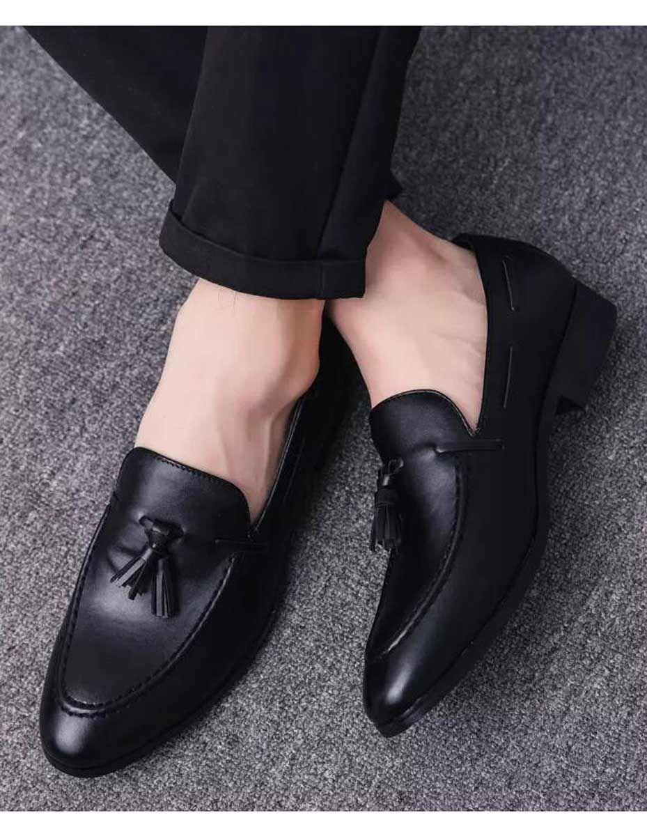 Black Tassel Leather Slip On Dress Shoe Simple Plain Black Shoes Men Slip On Dress Shoe Dress Shoes Men