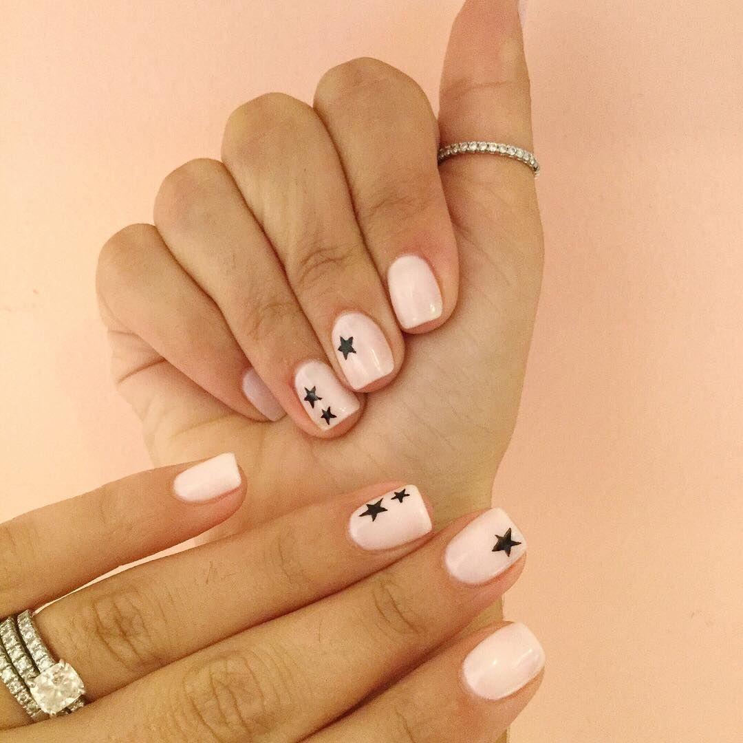 Black Star Manicure Nail Art Olive June Star Nail Art Star Nails Manicure
