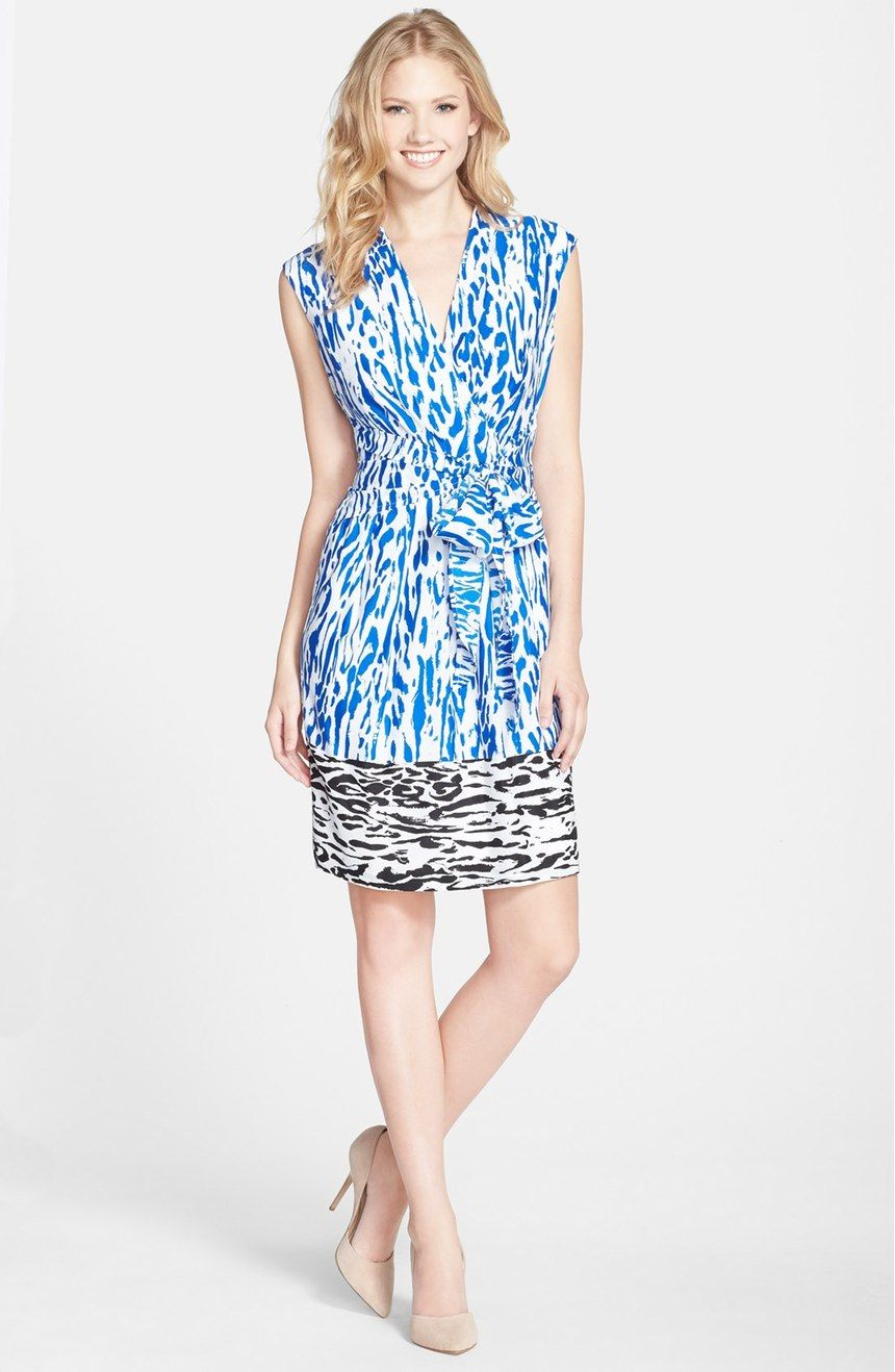 005eeac2bc9 Free shipping and returns on Ellen Tracy Print Faux Wrap Dress (Regular    Petite) at Nordstrom.com. An abstract