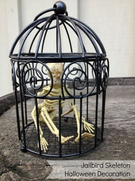 make a jailbird skeleton halloween decoration dollar store crafts - Skeleton Halloween Decoration
