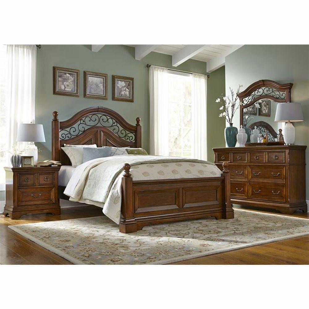 Liberty Furniture - Laurelwood 4 Piece Queen Poster Bed, Dresser ...