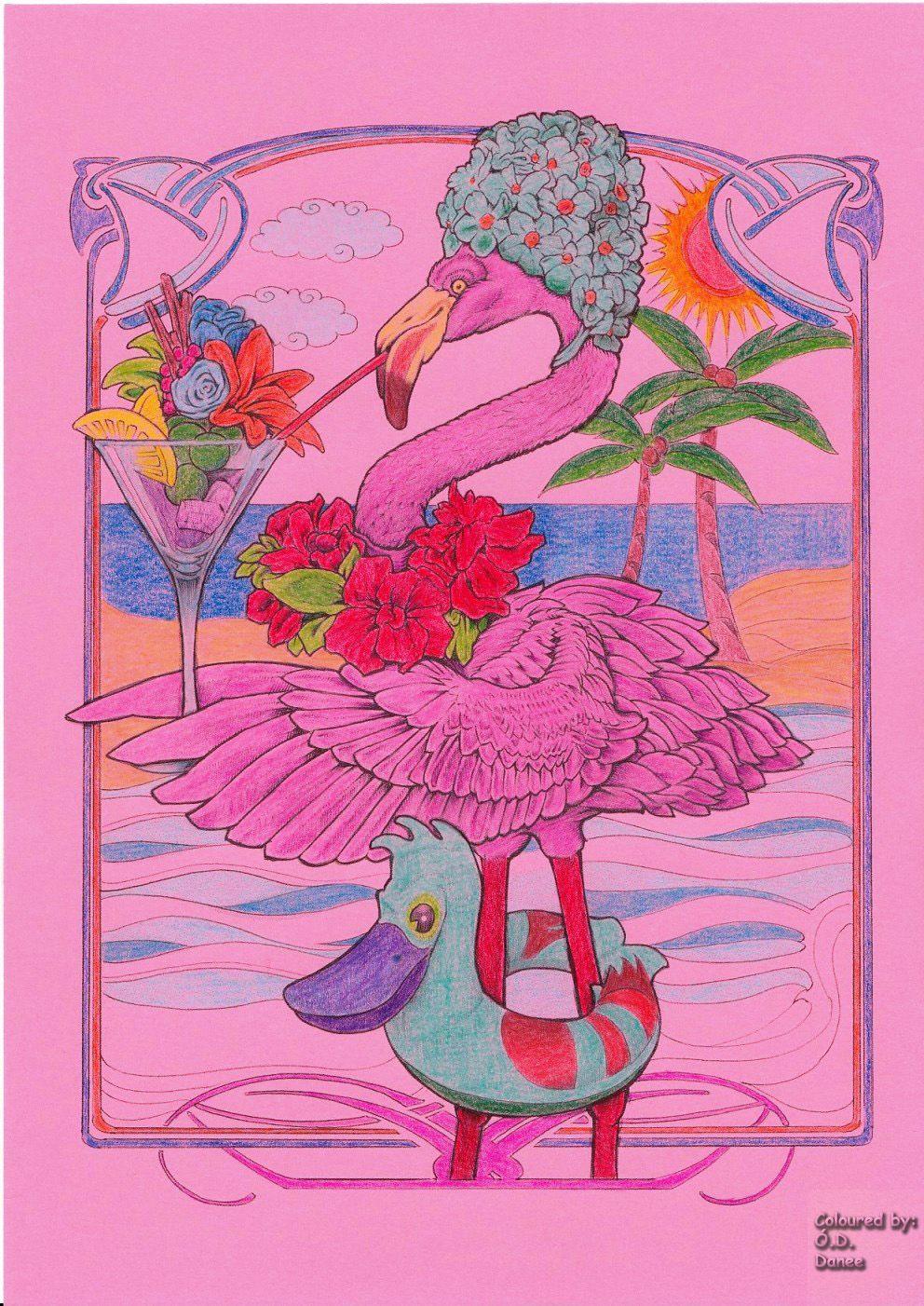 Bennett Klein Cmsb Characters Flora Flamingo Coloured With Colorino Artist Pencils Kleurplaten