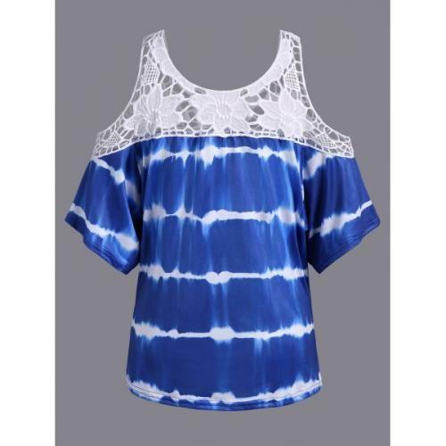 Prezzi e Sconti: Plus #size cold shoulder lace insert print  ad Euro 12.98 in #Women #Moda