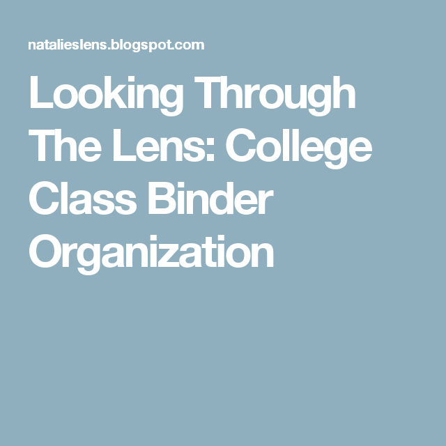 College Class Binder Organization
