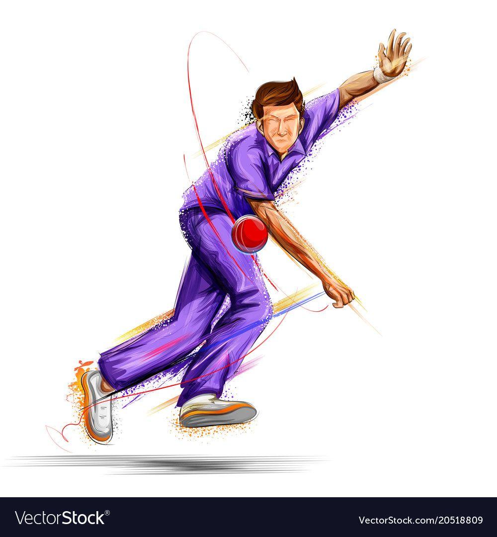 Bowler Bowling In Cricket Championship Sports Vector Image On Vectorstock Cricket Logo Cricket Poster Cricket