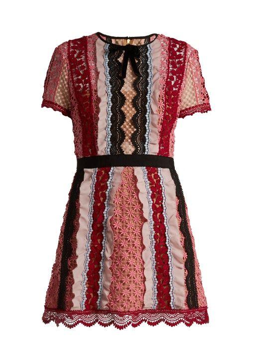7af95a79d127 SELF-PORTRAIT Bellis Lace Contrast-Panel Mini Dress. #self-portrait #cloth # dress