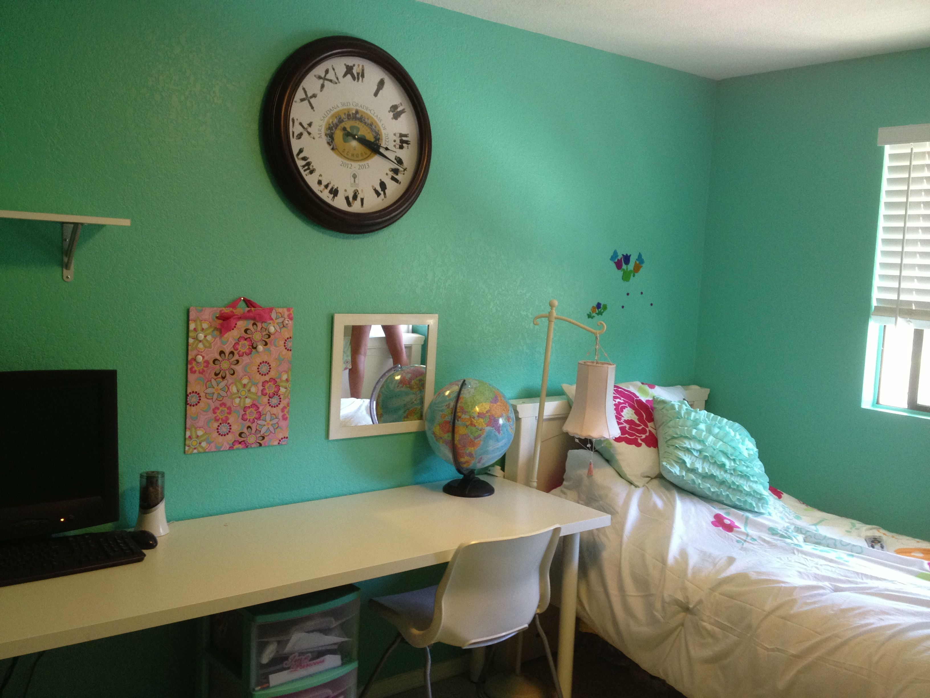 Tiffany blue girls room. Lowes color matched. A surprise for my 9 ...
