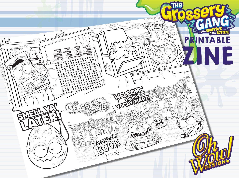 grossery gang theme digital coloring book zine by ohwowdesign on etsy - Digital Coloring Book