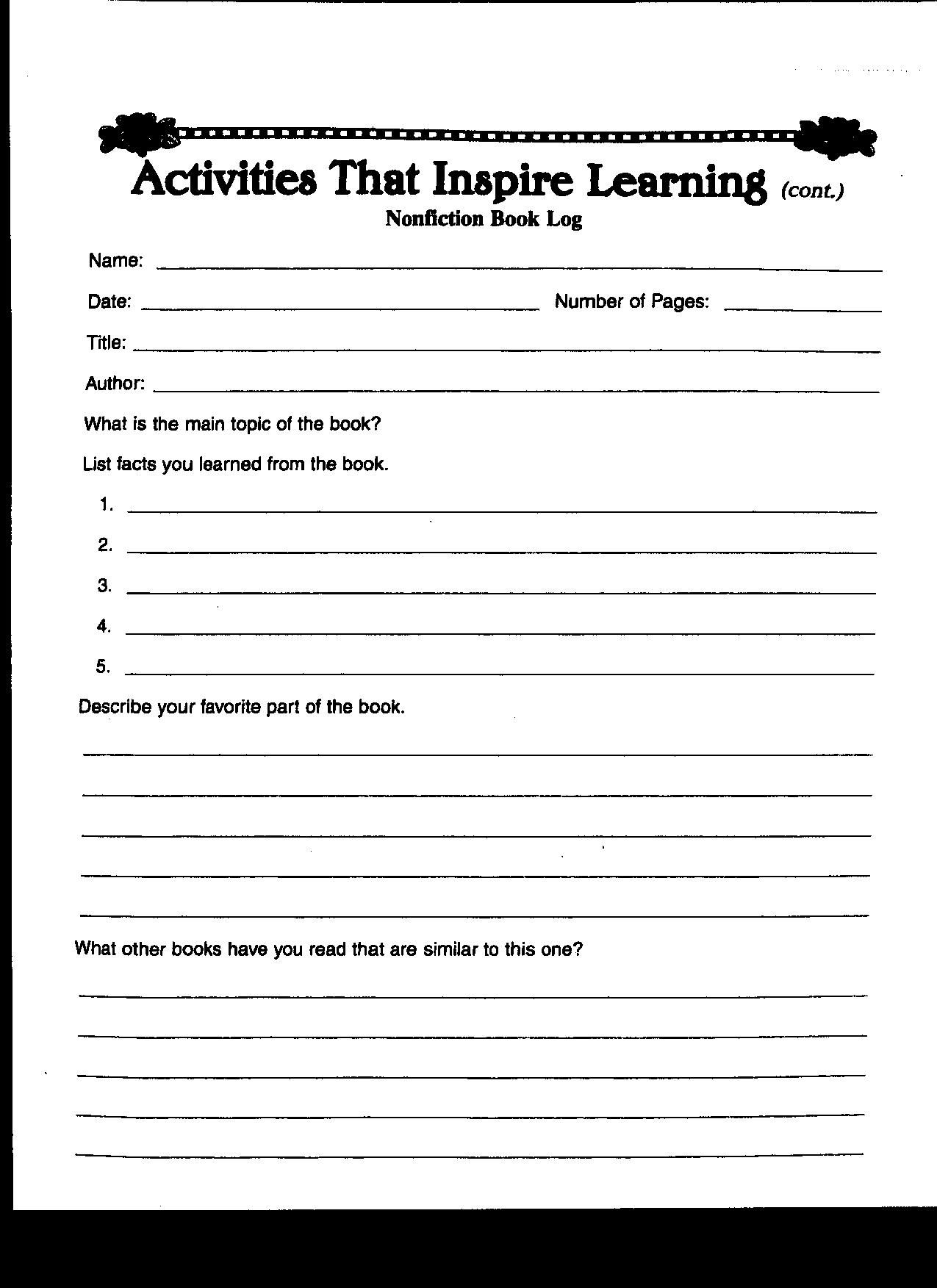 Worksheet For Book Report In