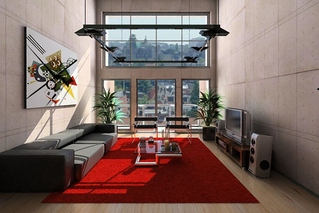 Living Room: Red Rug Ideas With Sectional Grey Arm Sofa Furniture And  Entertaiments Units: Wonderful Modern Living Room Design For Best Conc. Part 10