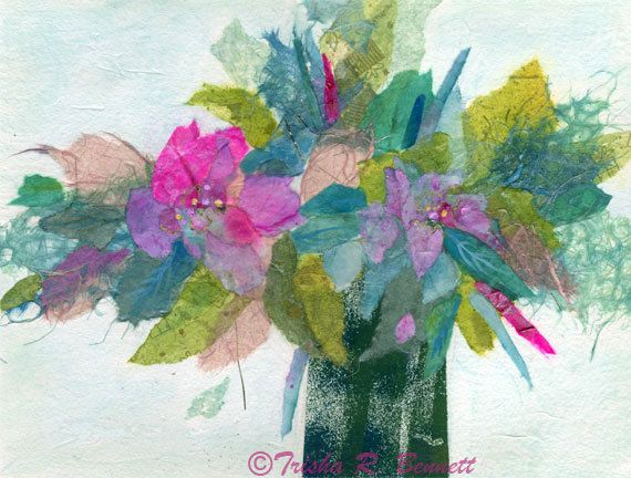 Abstract Floral Poster Tissue Collage Floral Wall Decor ...