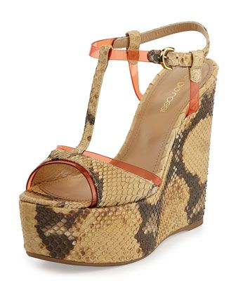 Python+Leather+T-Strap+Wedge+Sandal,+Desert/Orange+by+Sergio+Rossi+at+Neiman+Marcus+Last+Call.