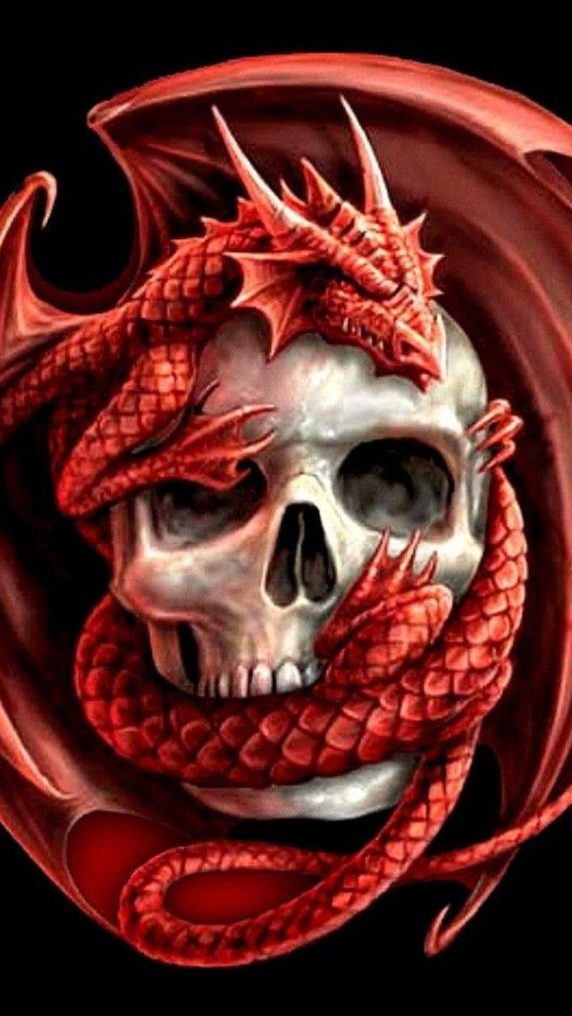 Dragon Skull Iphone Smartphone Wallpaper Skull Wallpaper