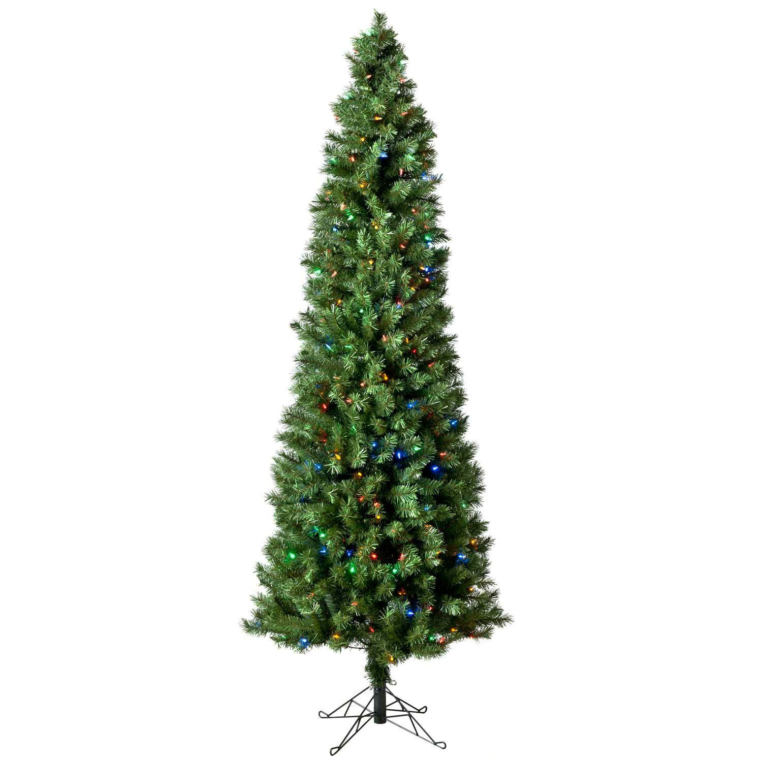 7\' Austrian Pine Pre-Lit Pencil Tree with Color Changing Lights ...