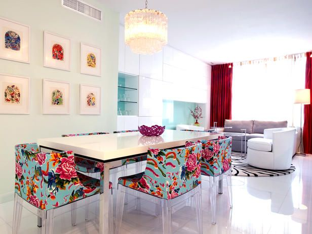 Color punched white dining room from Avram Rusu. Would love for my office someday!