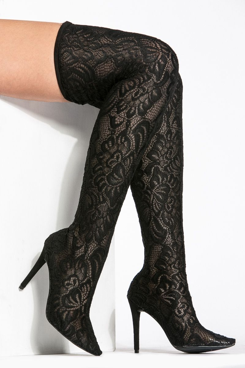 Black Lace Pointed Toe Thigh High Boots   Cicihot Boots Catalog women s  winter boots 2cce3f1a3d74
