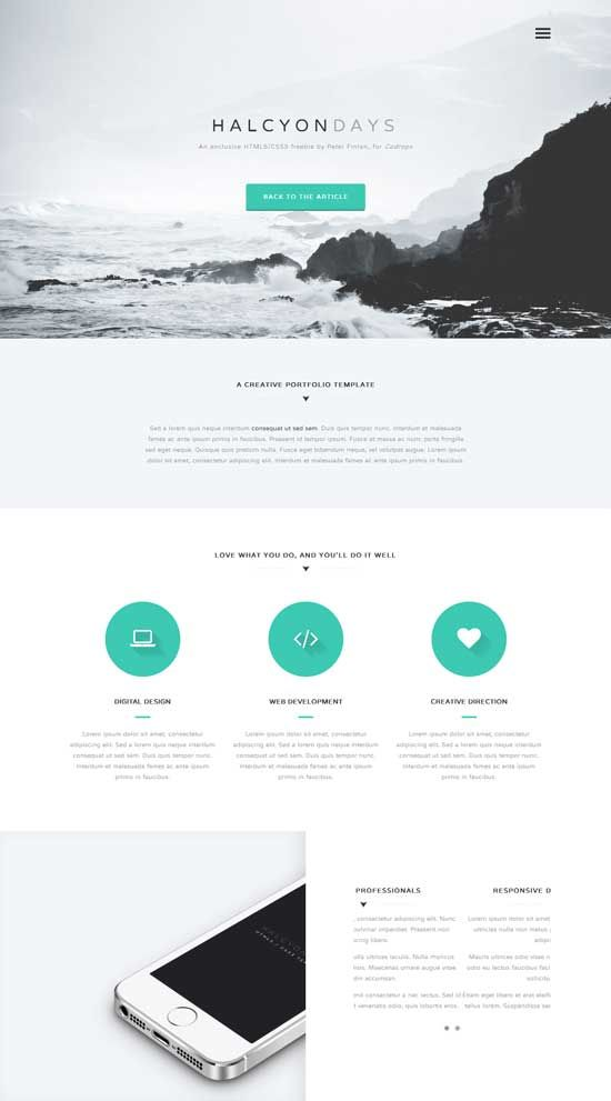Halcyon-Days-Free-One-Page-Website-Template | Architecture ...
