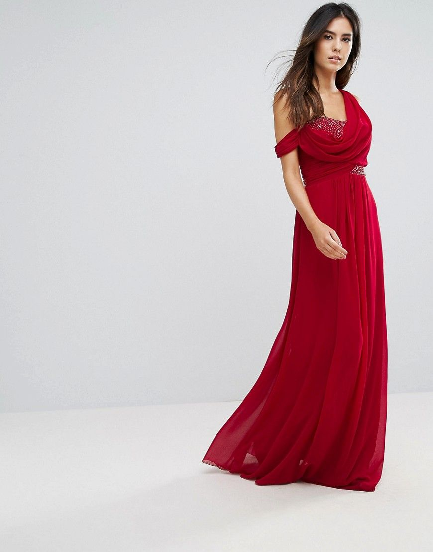 City goddess maxi dress with diamonte detail red products