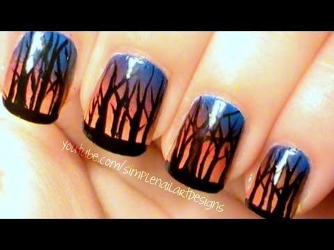 Ombre Sunset Forest Nail Art - YouTube