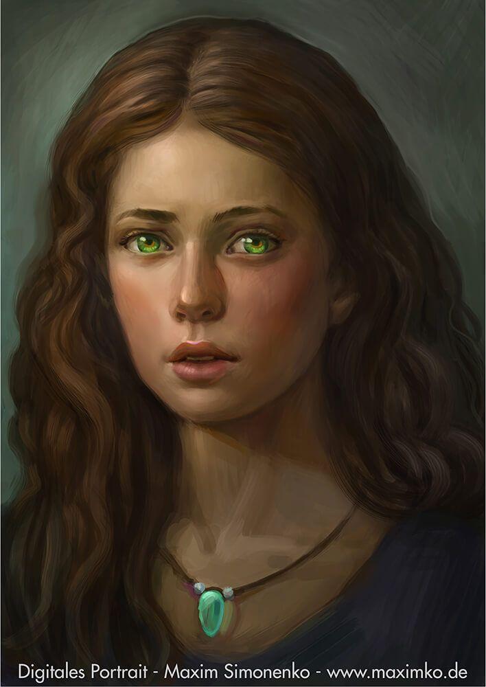 Braunhaariges Mädchen Portrait, Mädchen mit grünen Augen